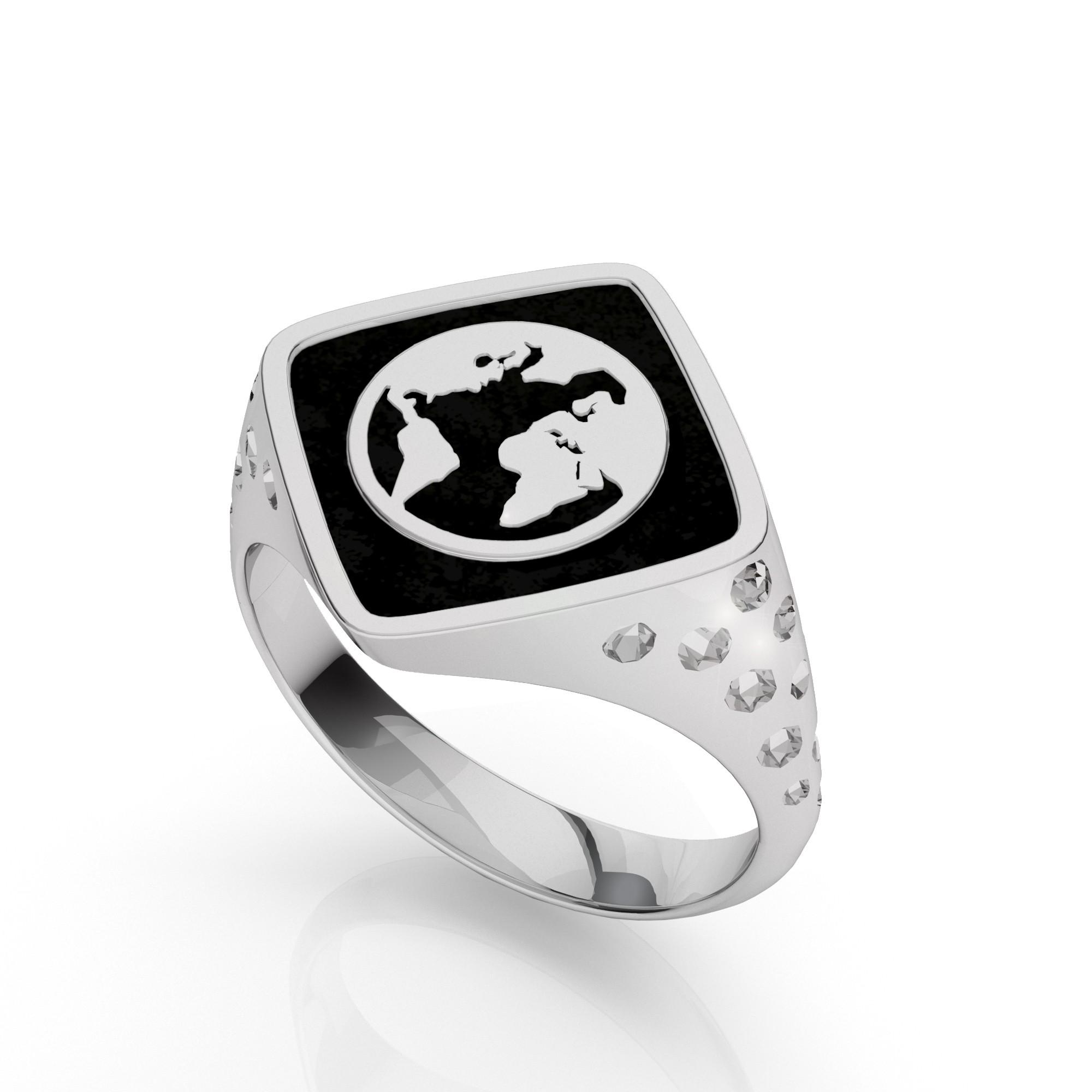 Globus ring, silber 925