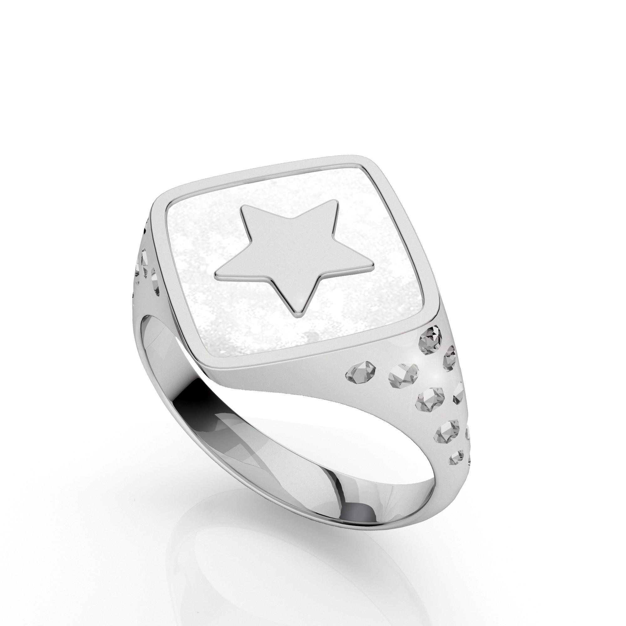 Star signet, sterling silver 925, MON DÉFI