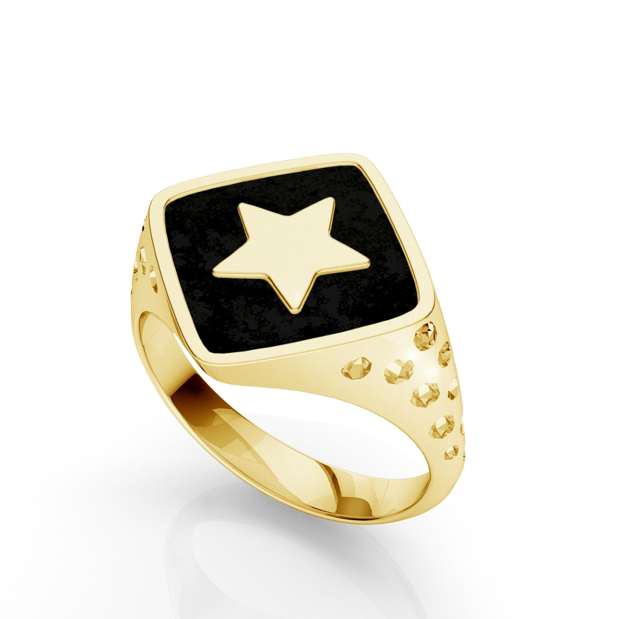 Srebrny sygnet gwiazda, MON DÉFI, srebro 925