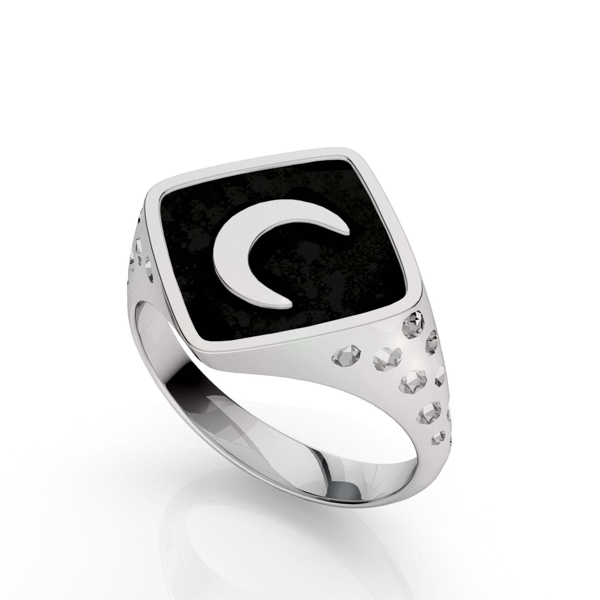 Srebrny sygnet księżyc, MON DÉFI, srebro 925