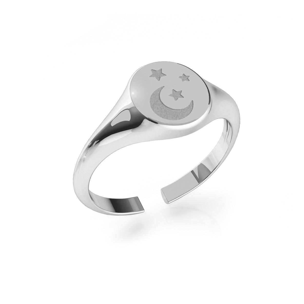 Srebrny sygnet księżyc i gwiazda, MON DÉFI, srebro 925