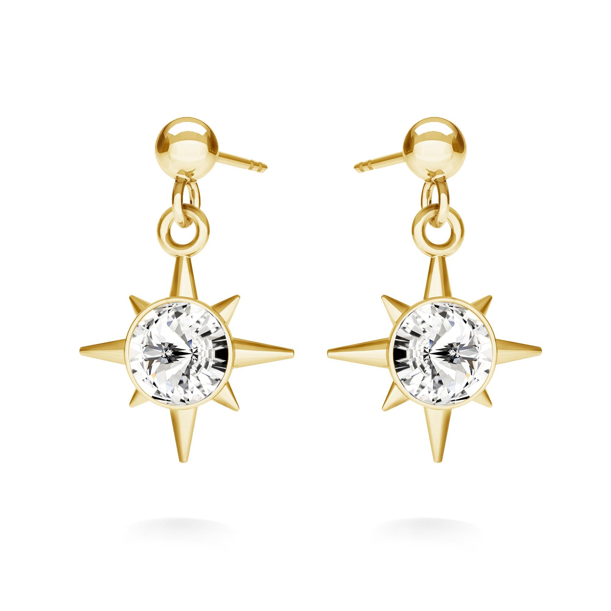Kolczyki gwiazda z kryształem, MON DÉFI srebro 925