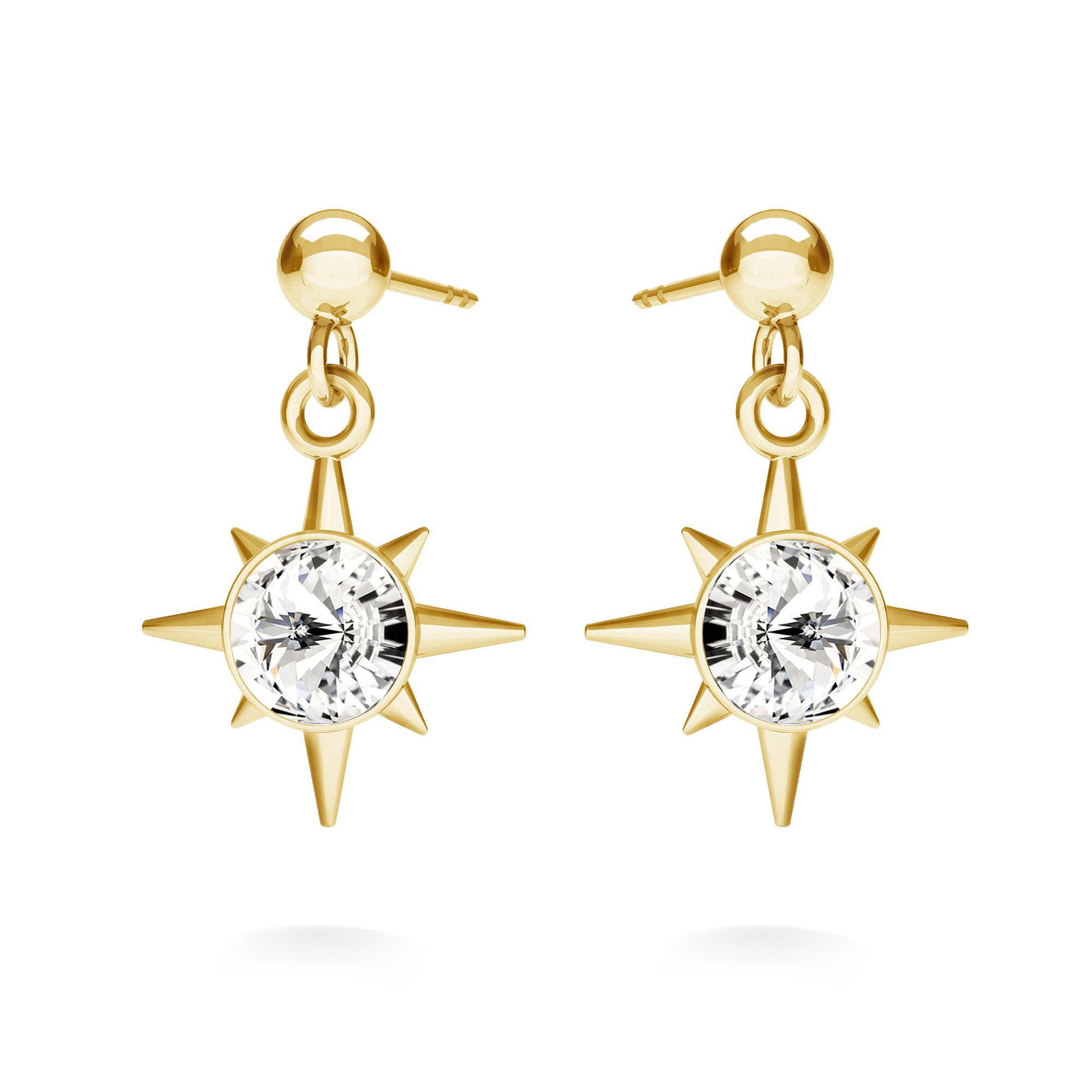 MON DÉFI earrings - star with crystal, sterling silver 925