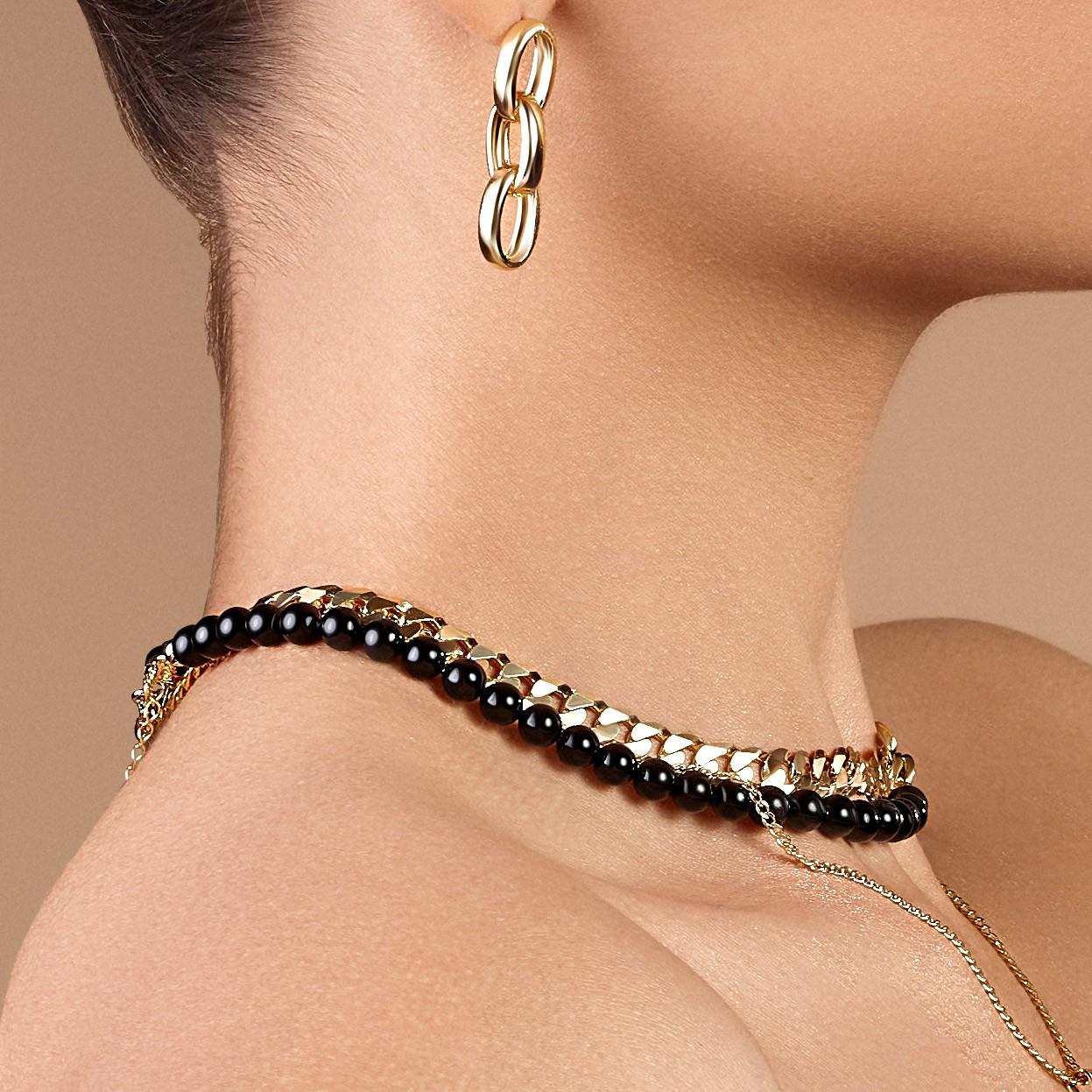Srebrny choker z czarnych pereł, do podwieszania charmsów 925