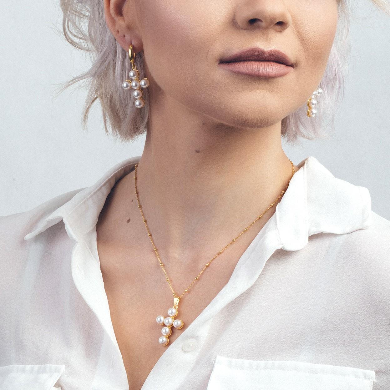 Kolczyki krzyżyk z perłami, srebro 925 Swarovski