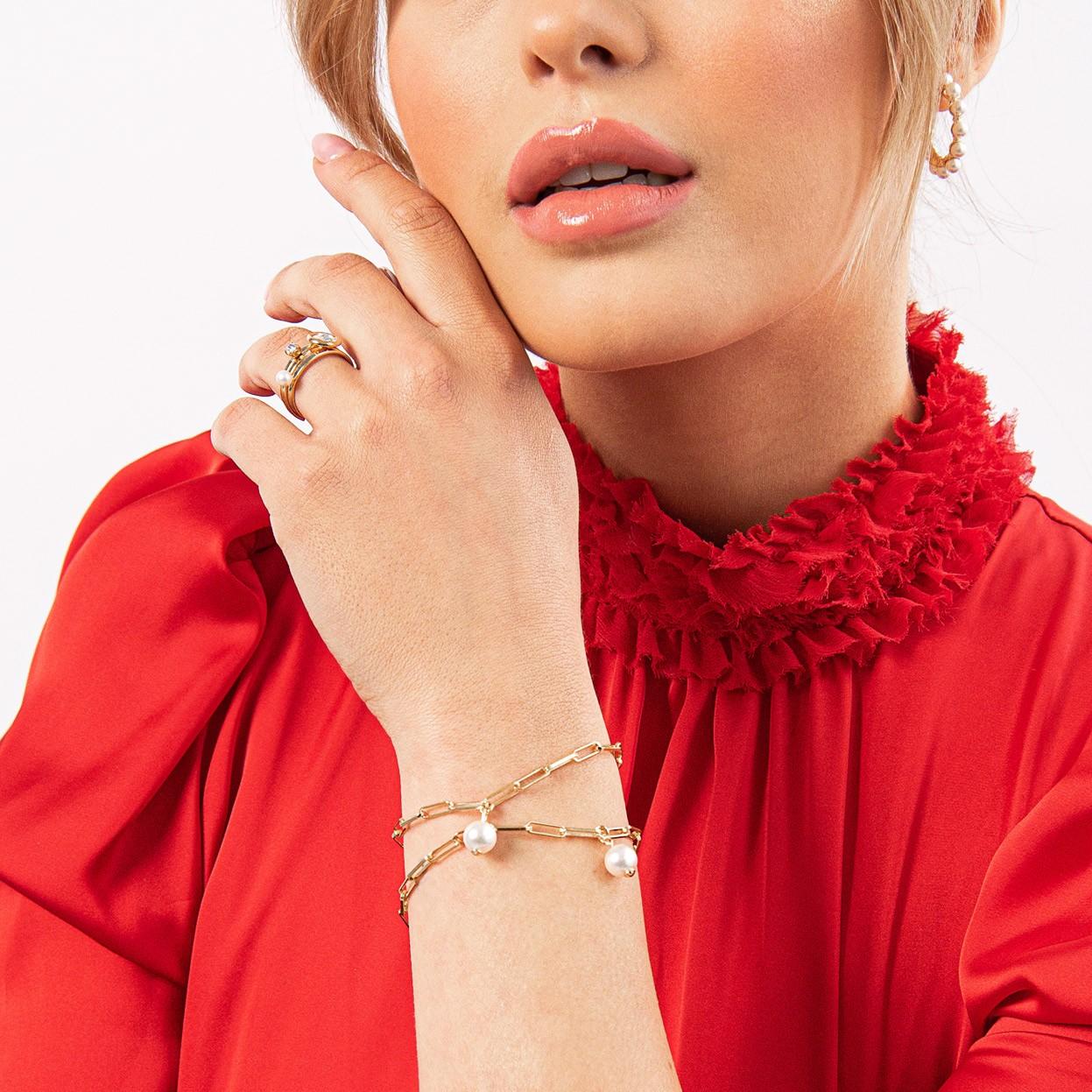 Srebrna bransoletka z okrągłą perłą Swarovskiego, srebro 925