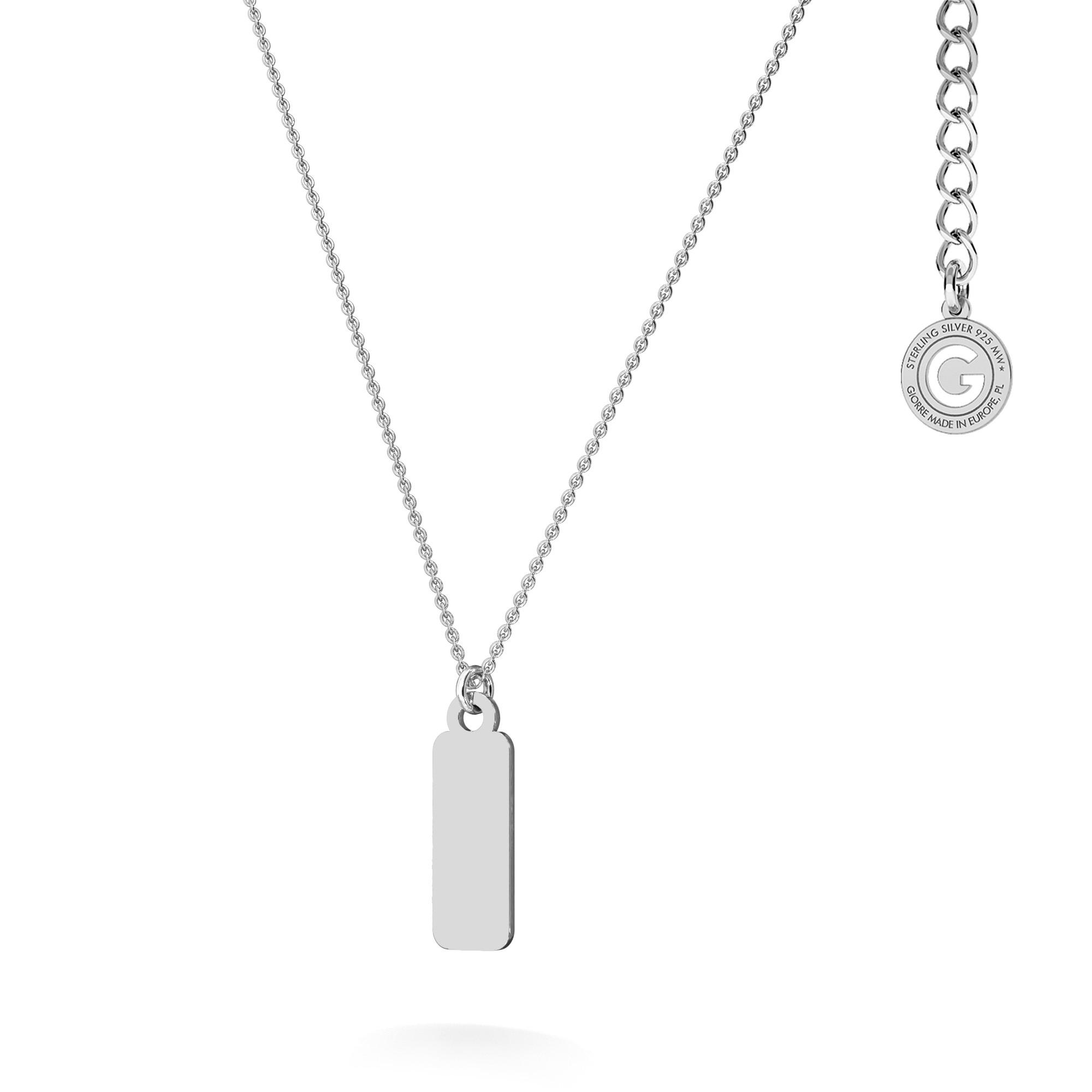 Srebrny naszyjnik blaszka z imieniem, srebro 925