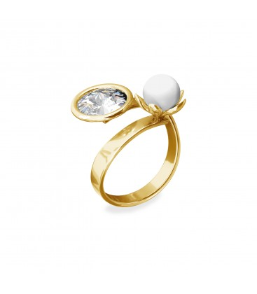 Ring with Swarvoski crystal & pearl, sterling silver 925