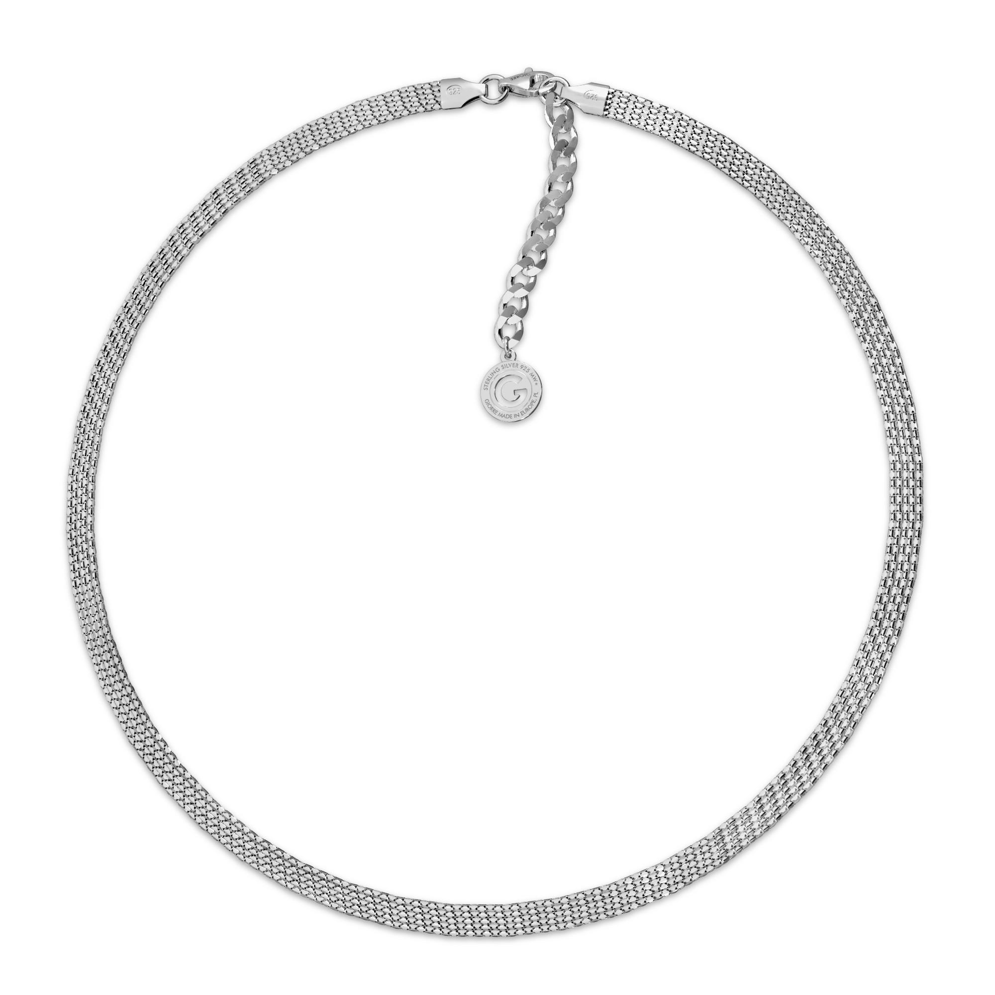Srebrny choker z 5 łańcuszków 925
