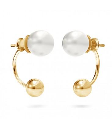 Srebrne kolczyki za ucho kulka i perła Swarovskiego, srebro 925