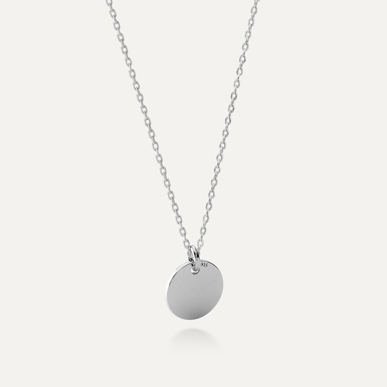 Srebrny naszyjnik celebrytka koło, grawer, AG 925