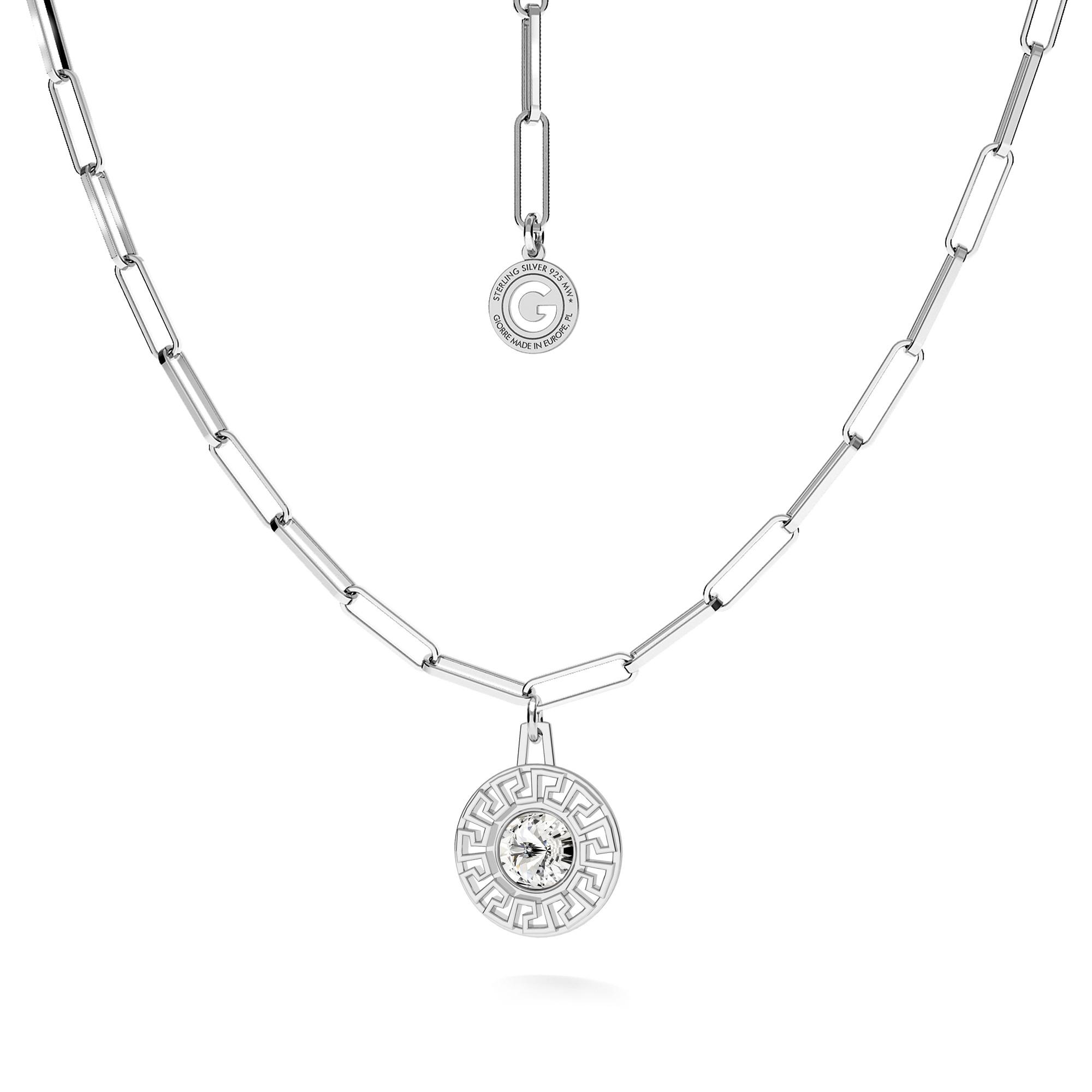 Srebrny naszyjnik grecki medalion z kryształem srebro 925