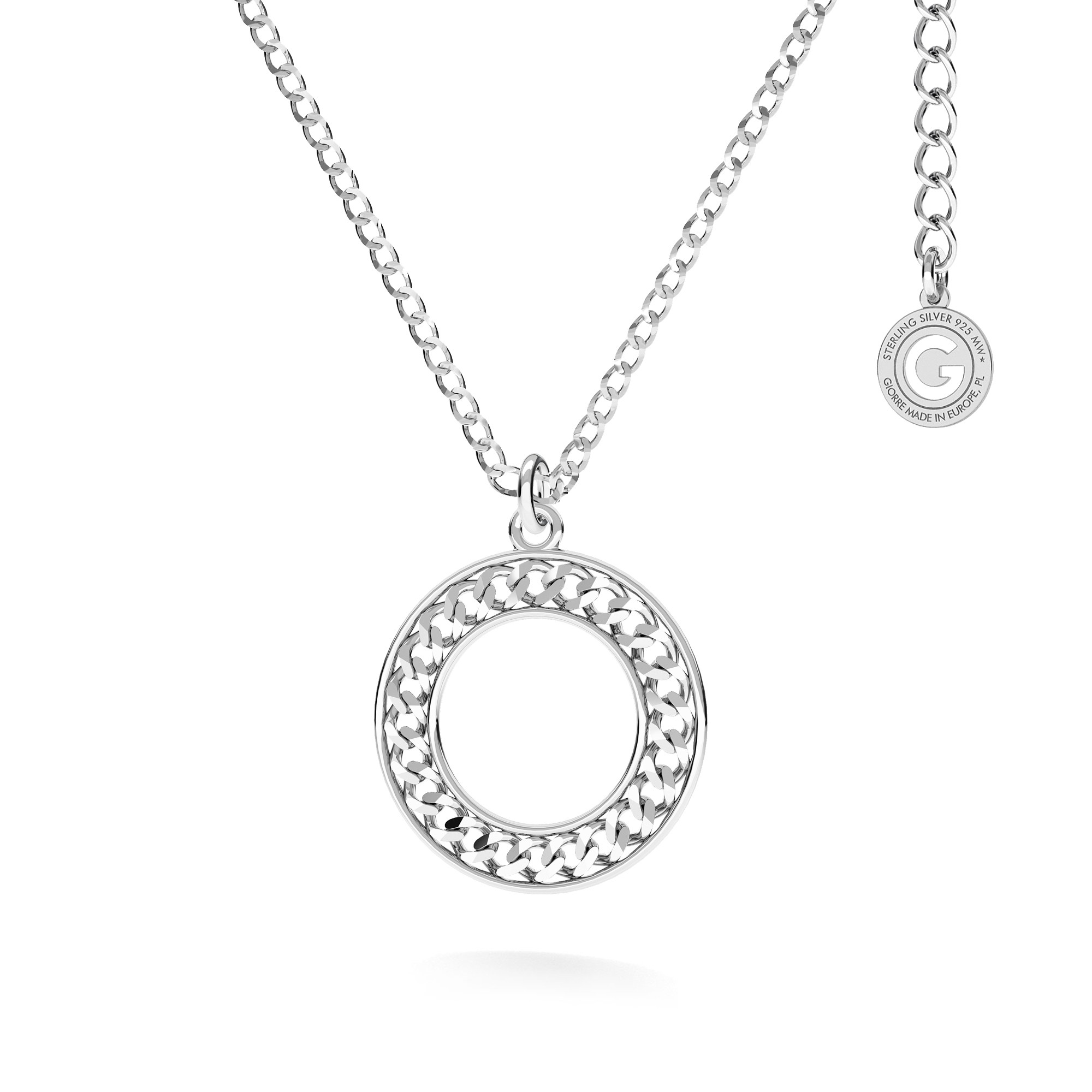 Round pendant necklace sterling silver 925