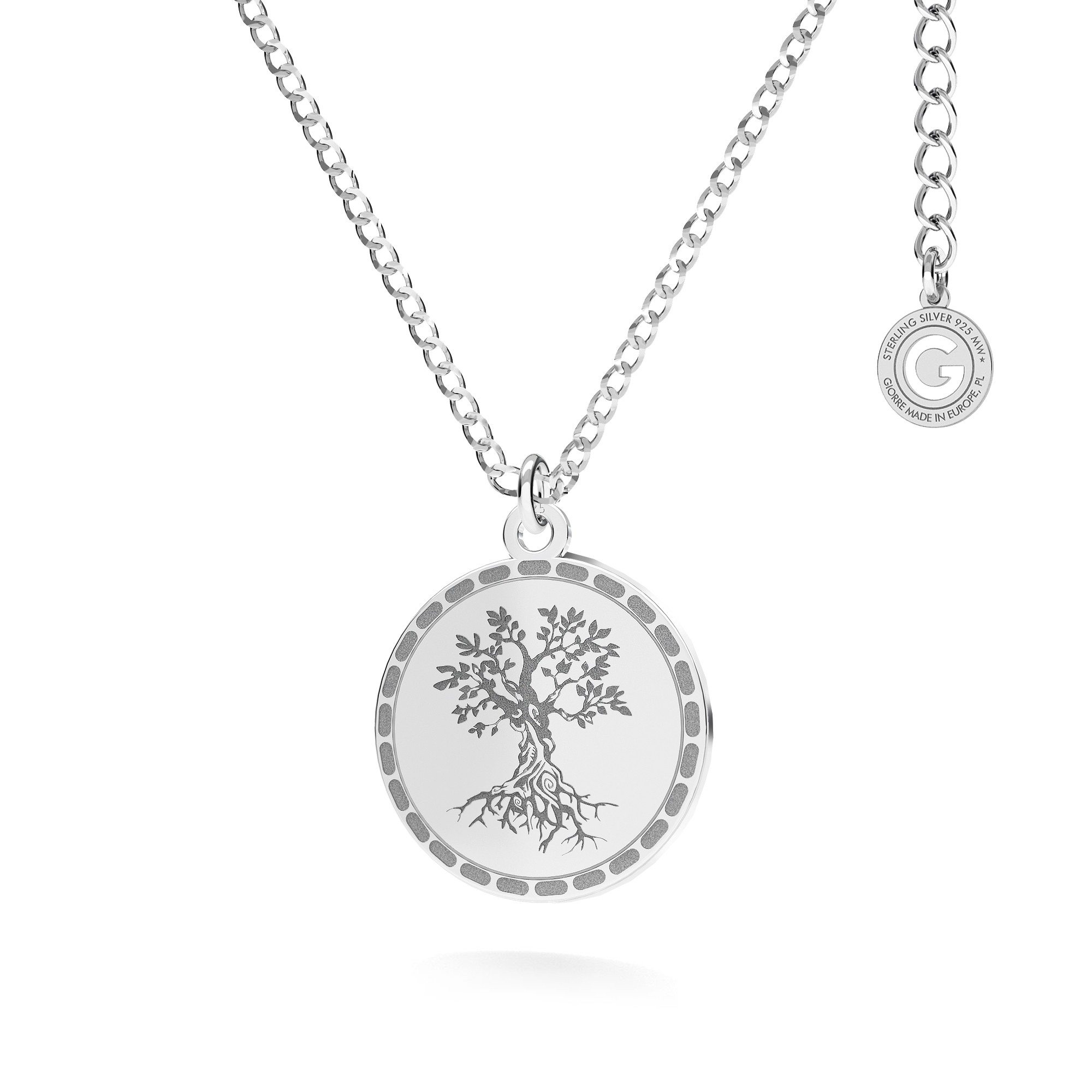 Round curb pendant necklace sterling silver 925