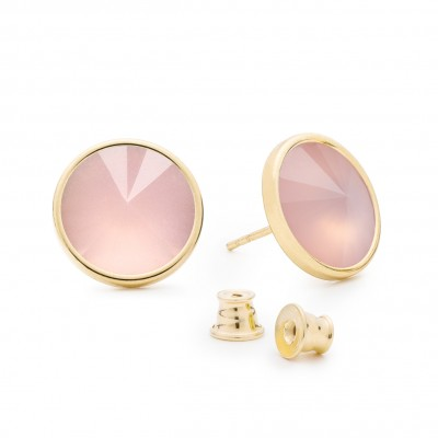 Earrings with round natural stone, 925