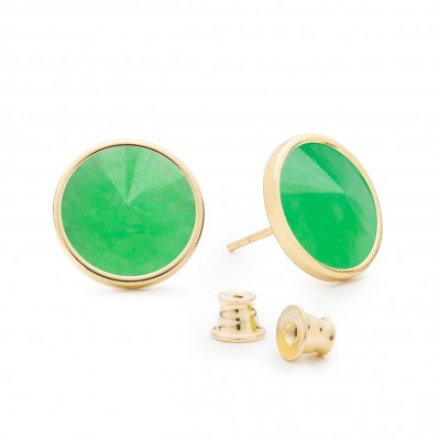 Earrings with round natural stone chrysoprase, 925