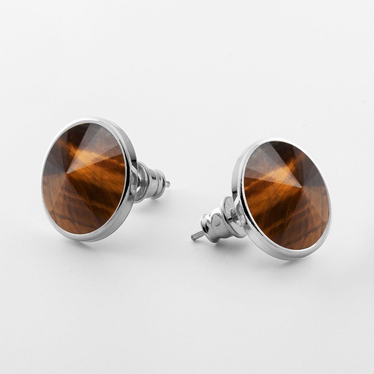 Srebrne kolczyki z naturalnym kamieniem, srebro 925