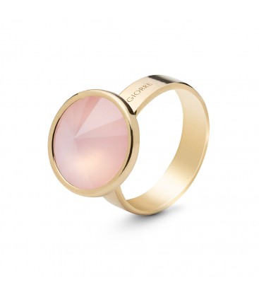 Ring with round natural stone quartz, 925