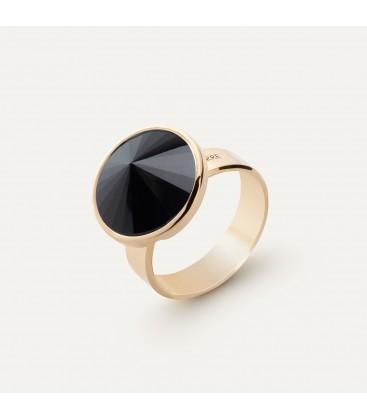 Srebrny pierścionek z naturalnym kamieniem - ciemnym, srebro 925