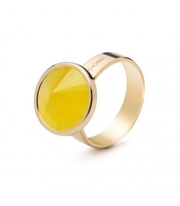 Srebrny pierścionek z naturalnym kamieniem - chalcedon żółty, srebro 925