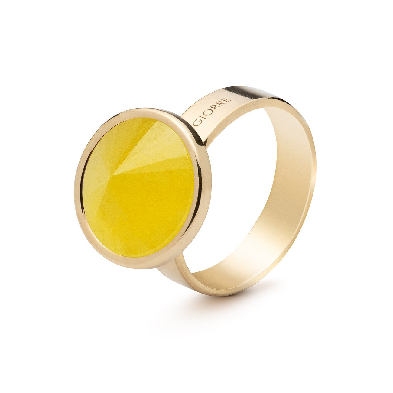 Ring with round natural stone, 925