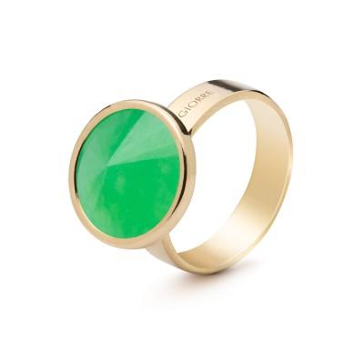 Srebrny pierścionek z naturalnym kamieniem - chryzopraz zielony ciemny, srebro 925
