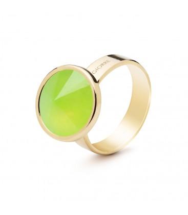 Srebrny pierścionek z naturalnym kamieniem - chryzopraz zielony jasny, srebro 925