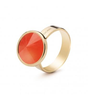 Srebrny pierścionek z naturalnym kamieniem - jadeit pomarańczowy ciemny, srebro 925