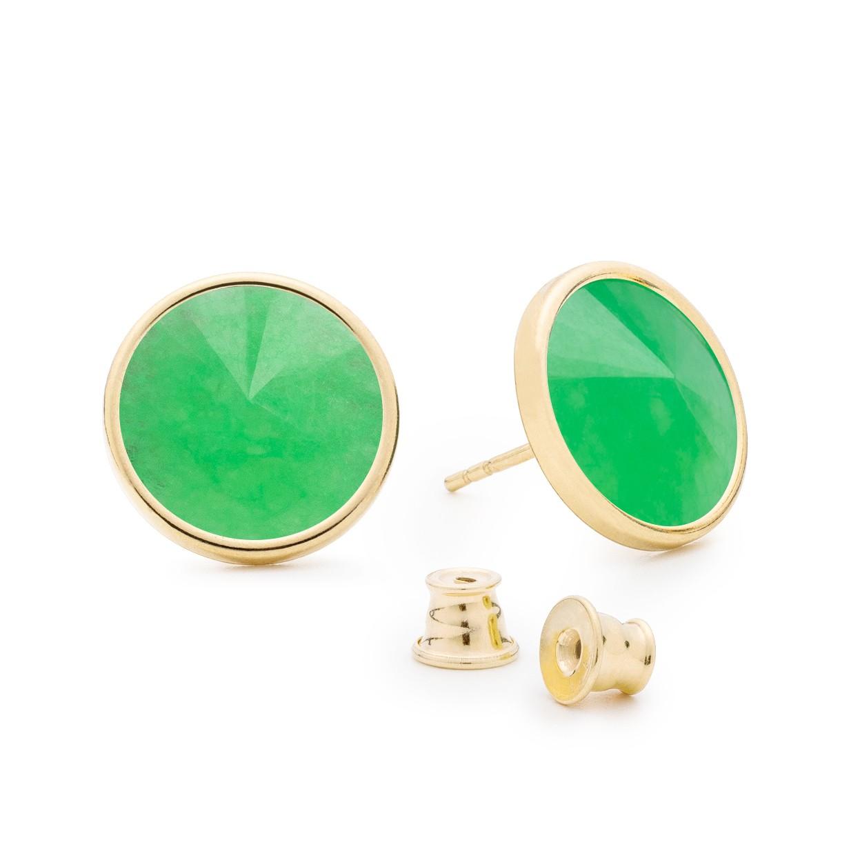 Srebrne kolczyki z naturalnym kamieniem, chryzopraz zielony ciemny, srebro 925