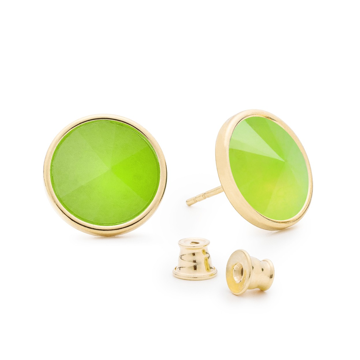 Earrings with dark round natural stone, 925