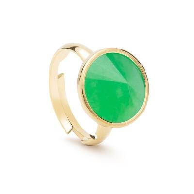 Uniwersalny pierścionek z naturalnym kamieniem - chryzopraz ciemny zielony turkusowy srebro 925