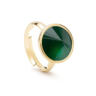 Uniwersalny pierścionek z naturalnym kamieniem - jadeit ciemno zielony turkusowy srebro 925