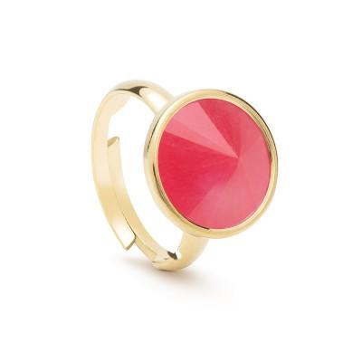Uniwersalny pierścionek z naturalnym kamieniem - jadeit różowy srebro 925
