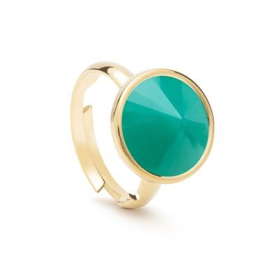 Uniwersalny pierścionek z naturalnym kamieniem - jadeit zielony jasny srebro 925
