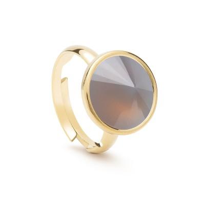 Uniwersalny pierścionek z naturalnym kamieniem - kwarc dymiony srebro 925