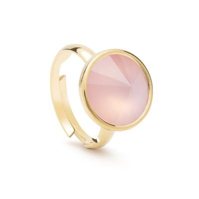 Uniwersalny pierścionek z naturalnym kamieniem - kwarc różowy antyczny srebro 925