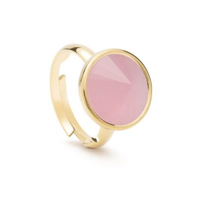Uniwersalny pierścionek z naturalnym kamieniem - kwarc różowy srebro 925