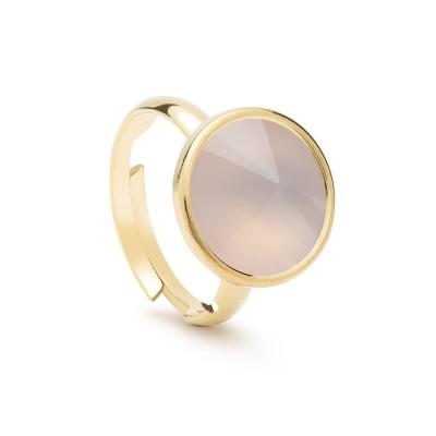 Uniwersalny pierścionek z naturalnym kamieniem - kwarc różowy jasny srebro 925