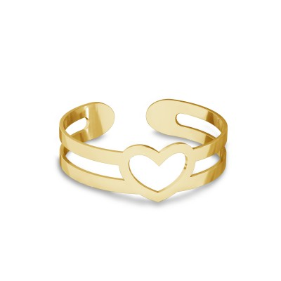 Knuckle ring with heart, sterling silver 925