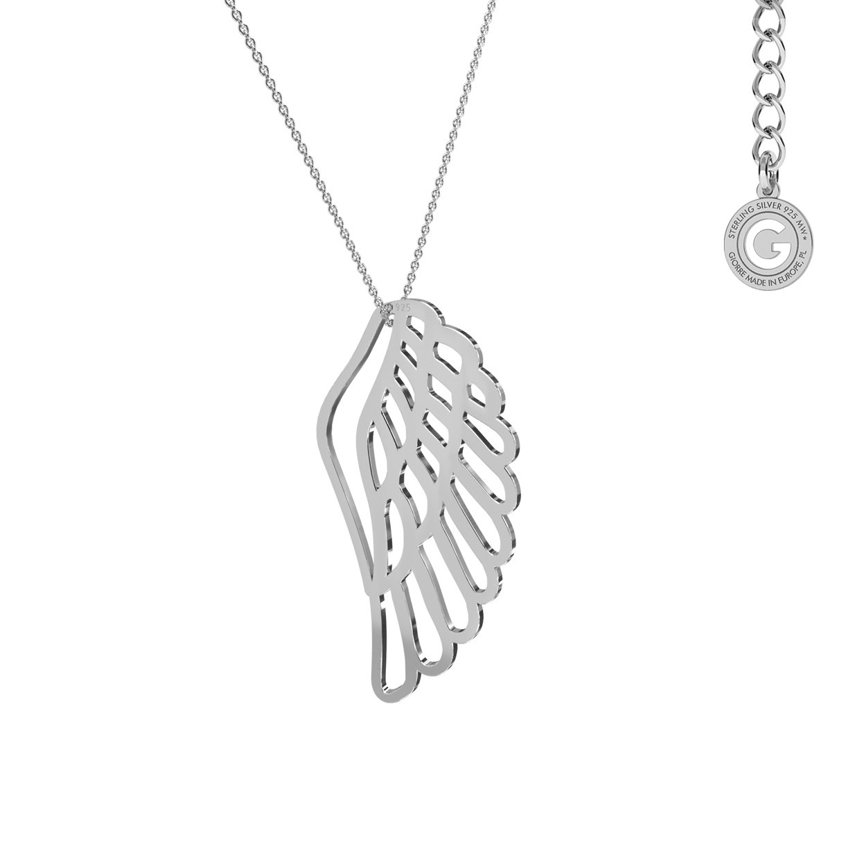 Silver wing necklace, sterling silver 925
