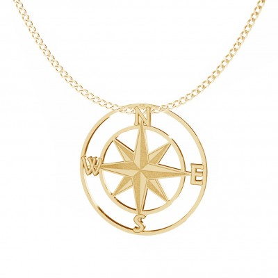 Wind rose necklace, sterling silver 925