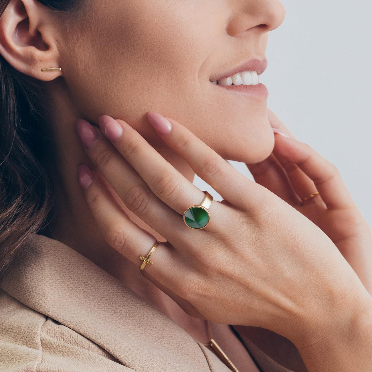 Srebrny pierścionek z naturalnym kamieniem - jadeit zielony ciemny, srebro 925