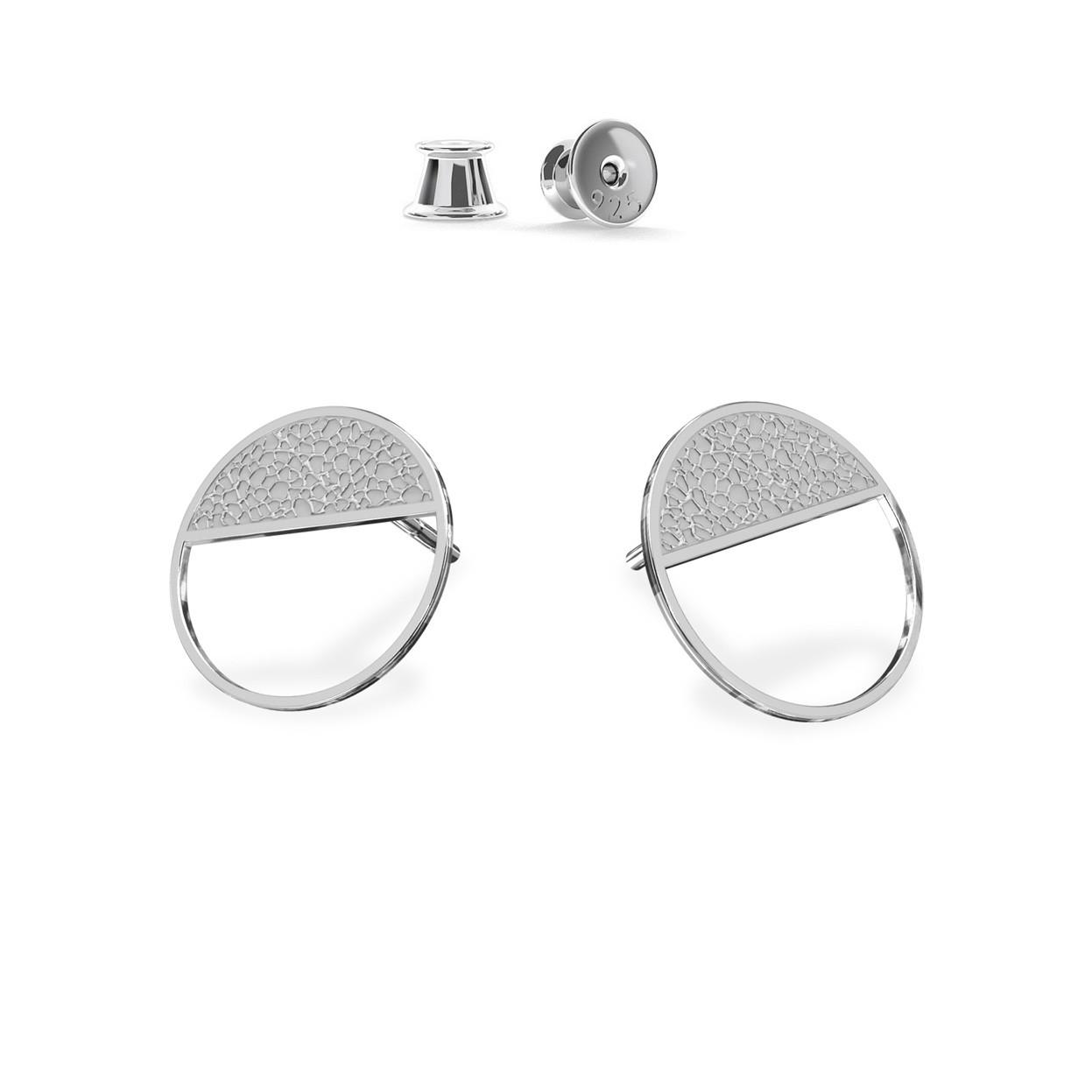 Kolczyki figura geometryczna koło, srebro 925