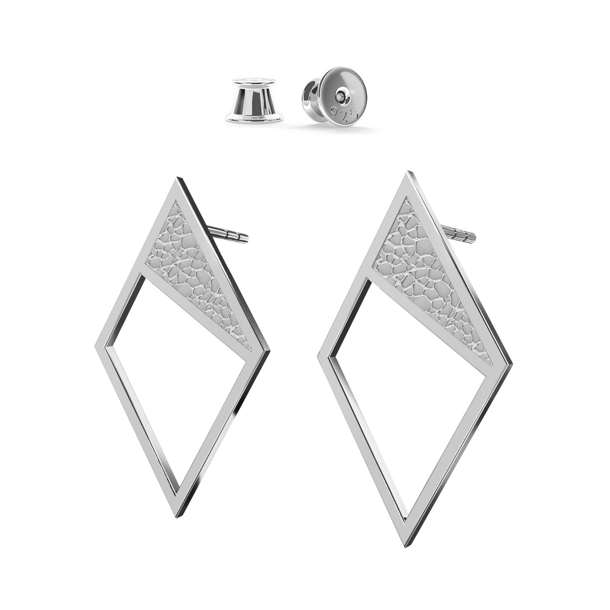 Kolczyki geometryczne romby, srebro 925