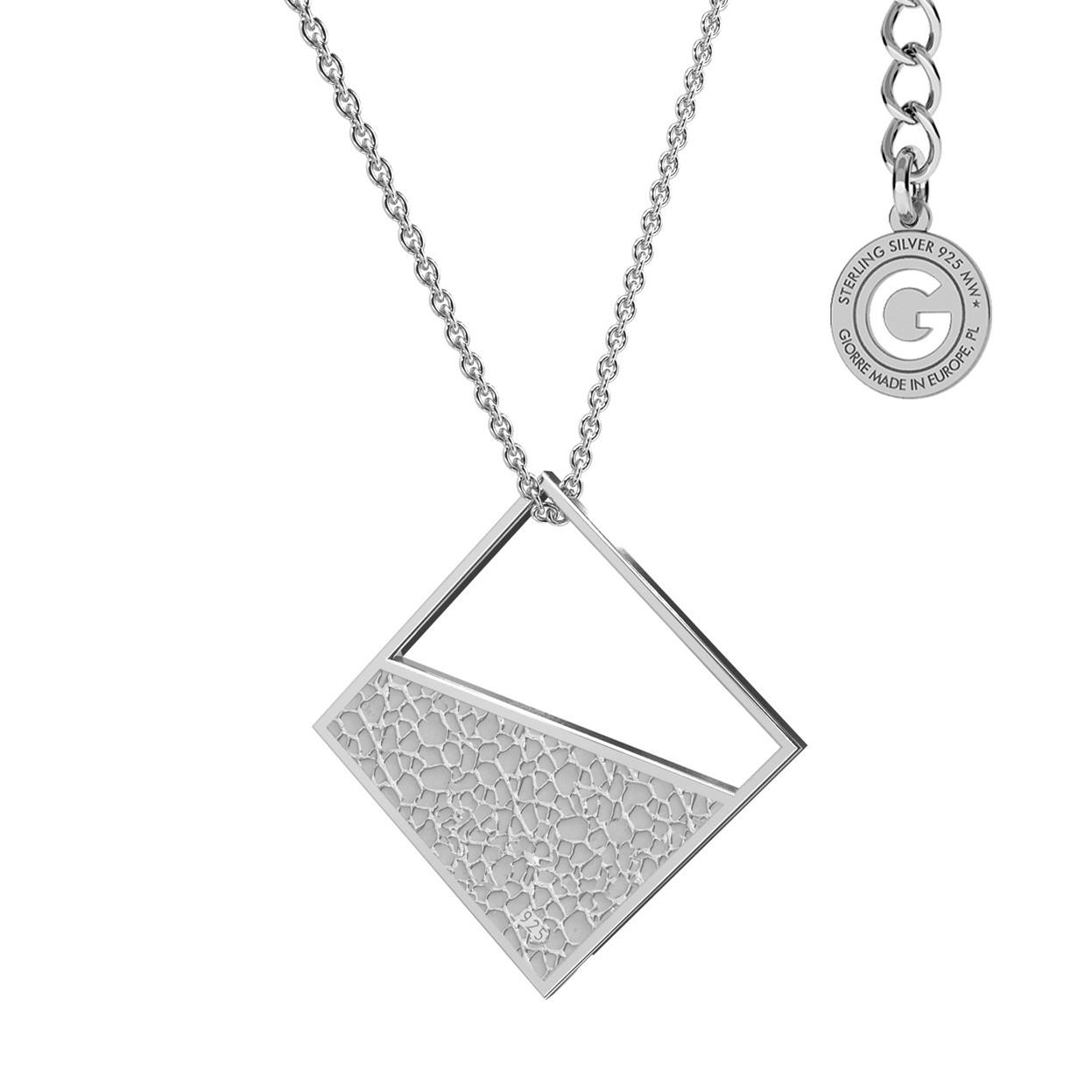 Naszyjnik figura geometryczna kwadrat, srebro 925