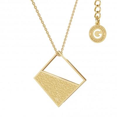 Geometric necklace diamond pendant, sterling silver 925
