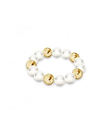 Elastyczny perłowy pierścionek, srebro 925