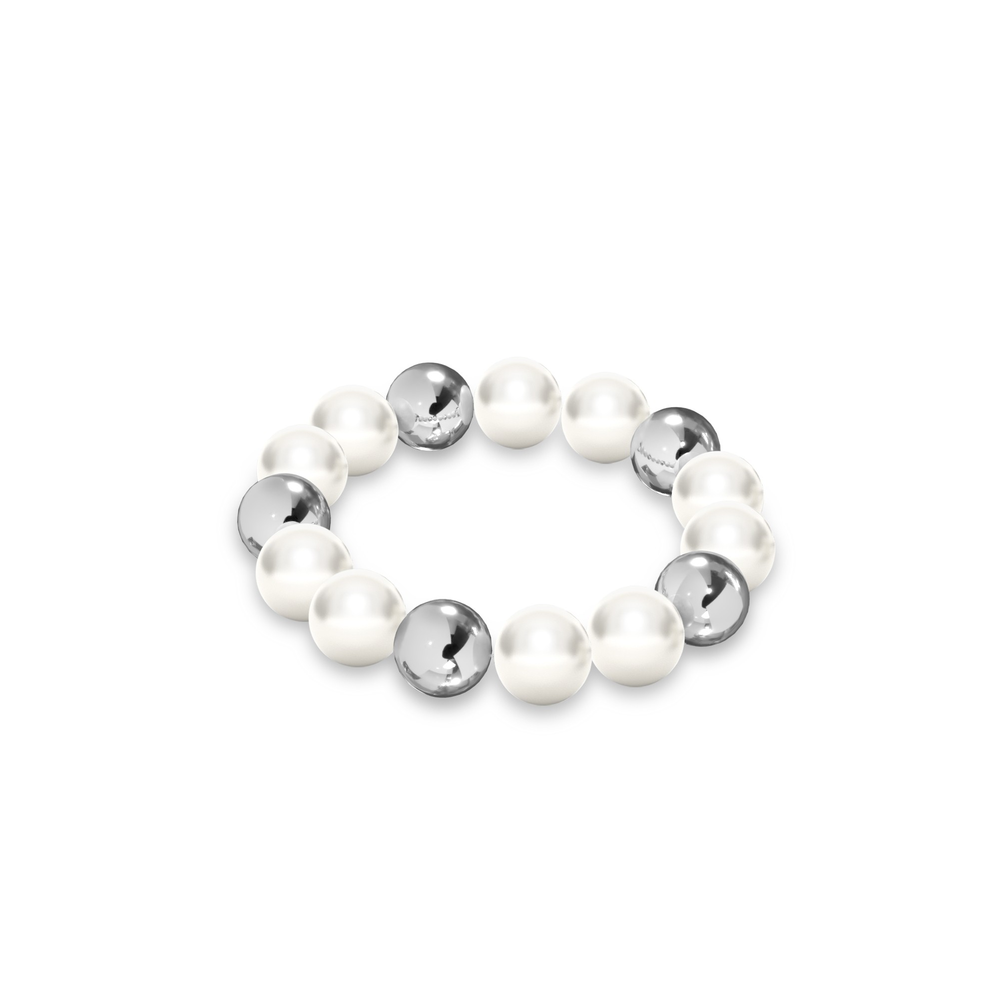 Flexible pearls ring sterling silver 925