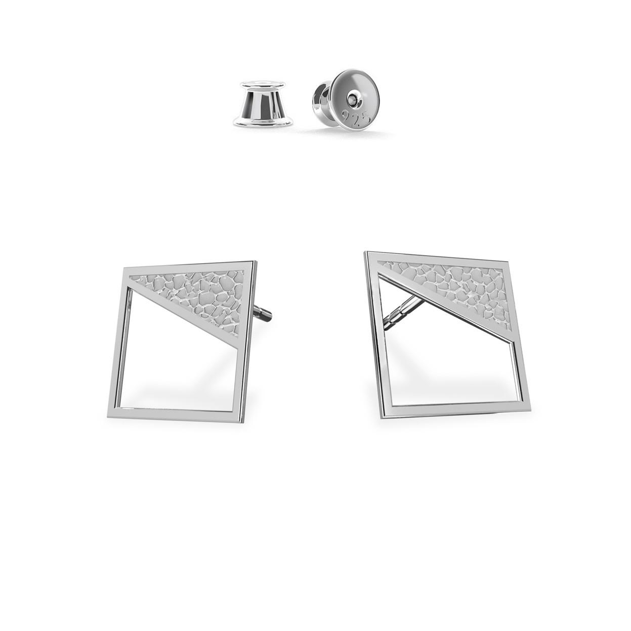 Kolczyki geometryczne kwadraty, srebro 925