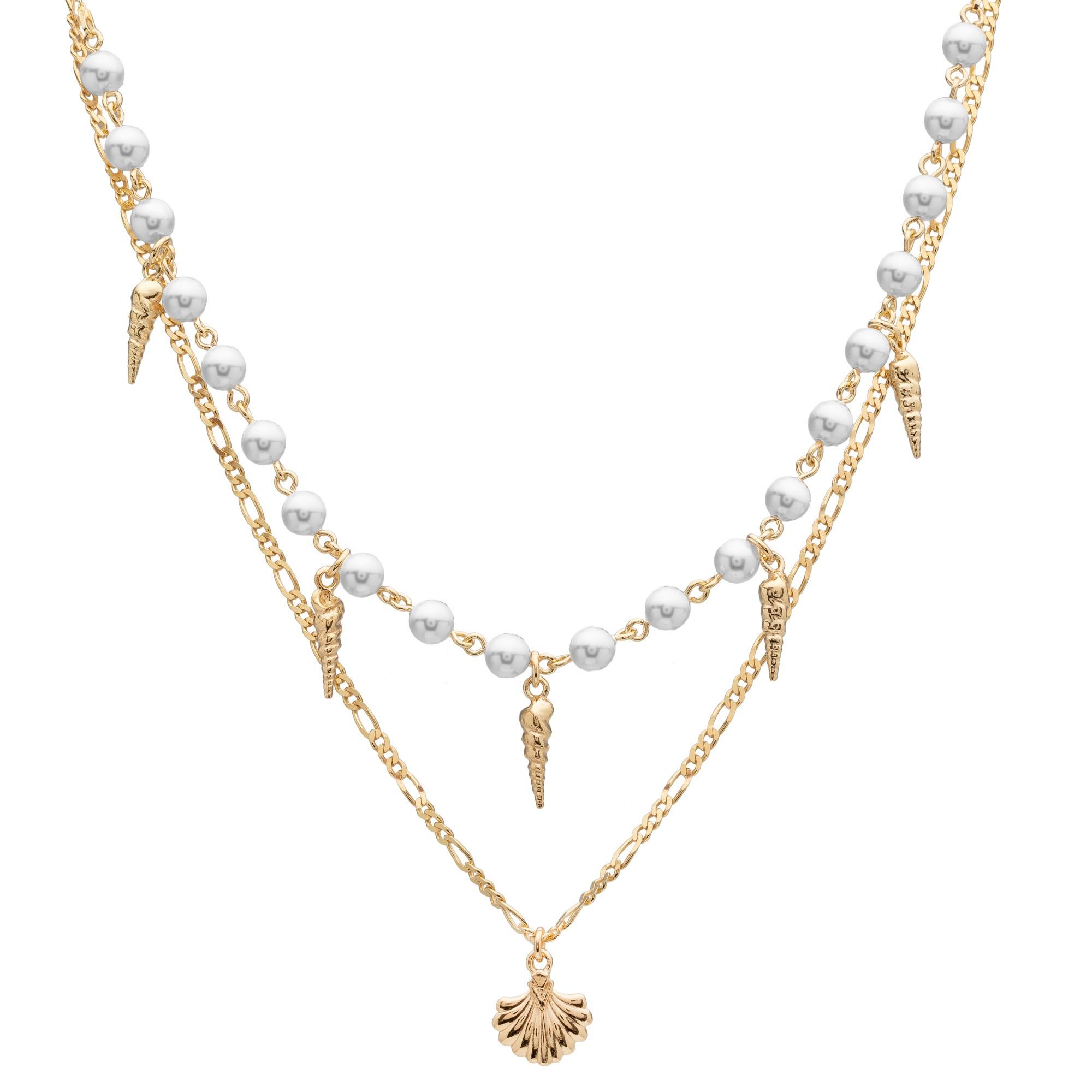 Perłowy naszyjnik z muszelkami, srebro 925